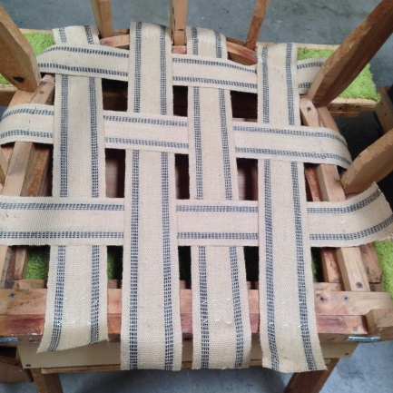 Replaced original rubber webbing with jute.