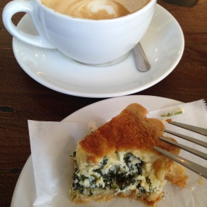 Coffee and quiche.